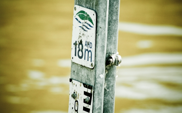 18 metre flood water level sign in perth western australia. Photo Drew Barrett