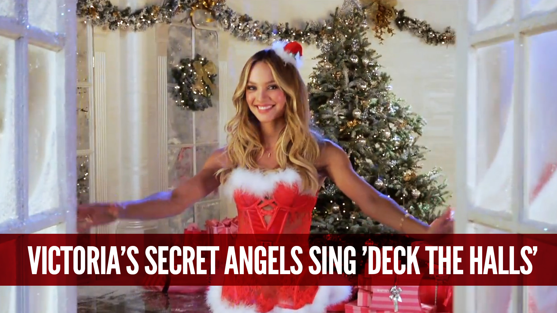 Merry Christmas  The Victoria   s Secret Angels Sing    Deck the Halls    Victorias Secret Christmas Wallpaper