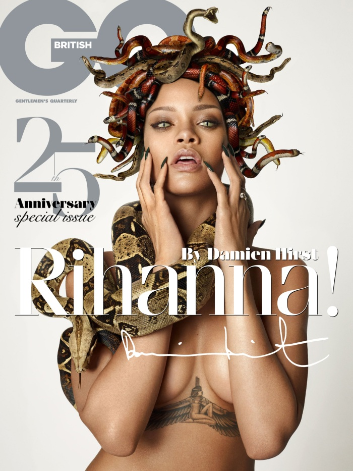 Rihanna as Naked Medusa for British GQ's 25th Anniversary Issue-01