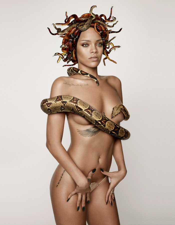 Rihanna as Naked Medusa for British GQ's 25th Anniversary Issue-02