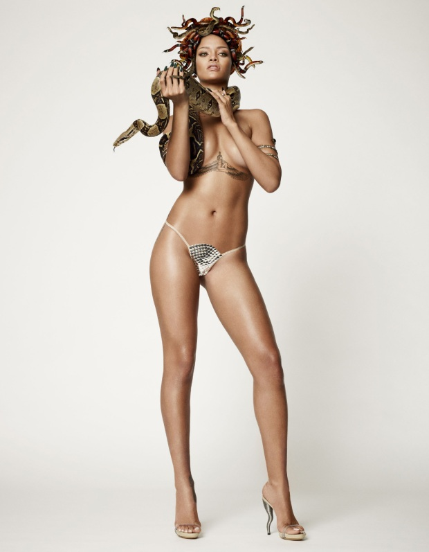 Rihanna as Naked Medusa for British GQ's 25th Anniversary Issue-06