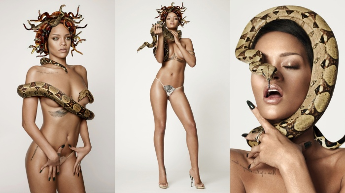 Rihanna as Naked Medusa for British GQ's 25th Anniversary Issue feat