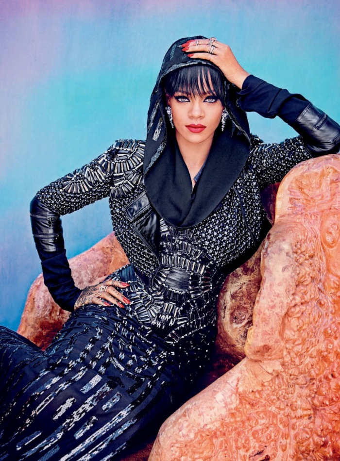 Rihanna Stuns in Harper's Bazaar Arabia hooded top